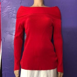 INC Large red off shoulder sweater rayon blend